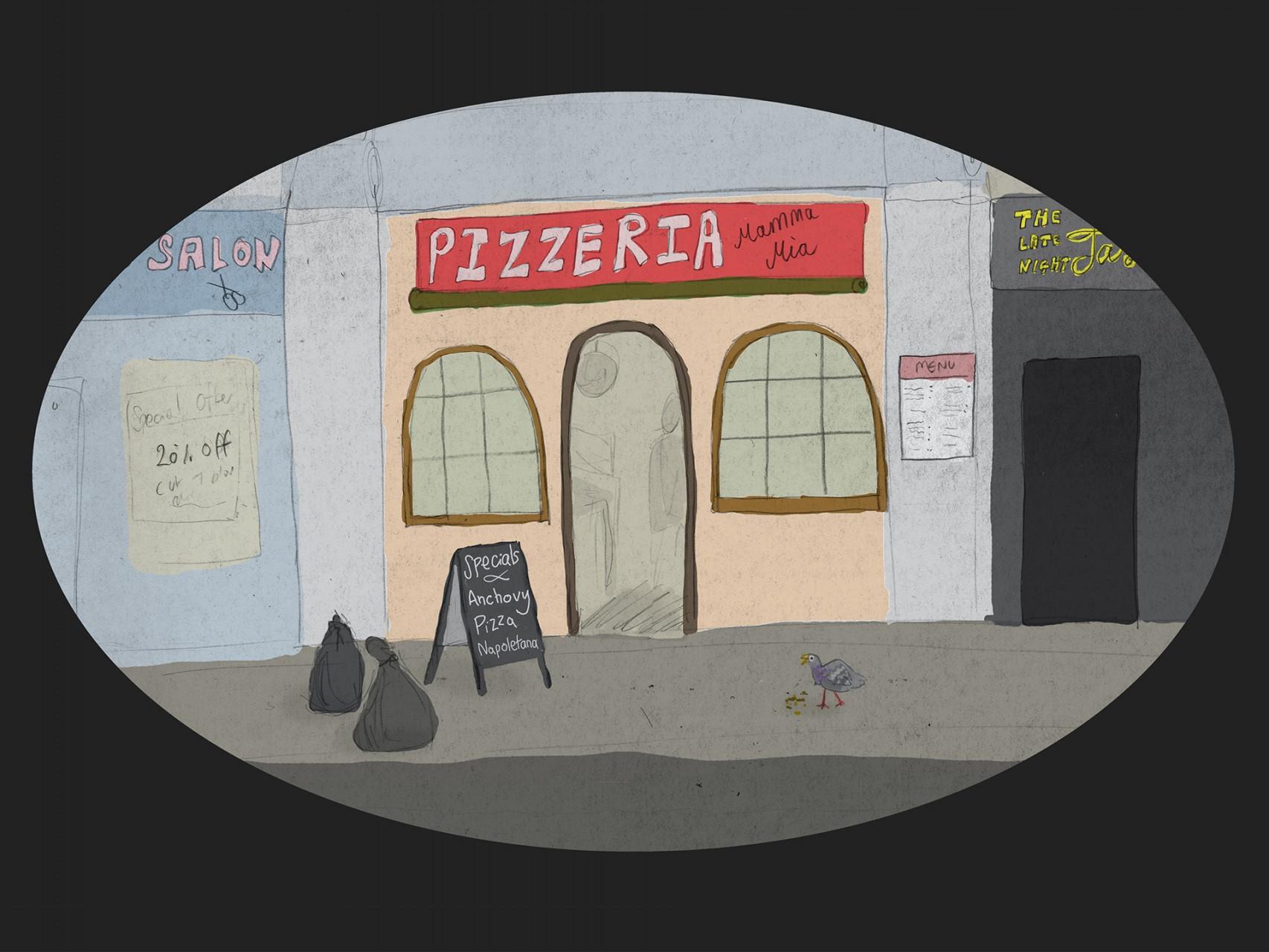 page 1f -outside pizzeria circle a